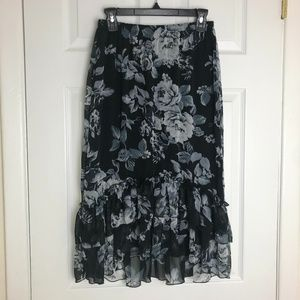 Counterparts Black Floral Print Skirt Size S